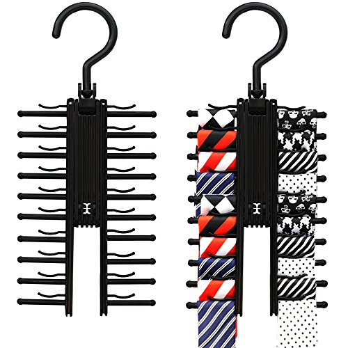 2 PACK IPOW Black Tie Belt Rack Organizer Hanger Non-Slip Clips Holder With 360 Degree Rotation,Securely up to 20 Ties (Ties Storage compare prices)