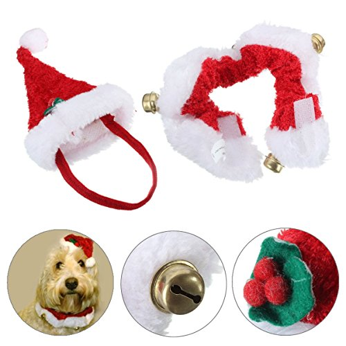 2pcs-Christmas-Pet-Cat-Dog-Santa-Hat-Collar-With-Bell-Christmas-Costume-Set