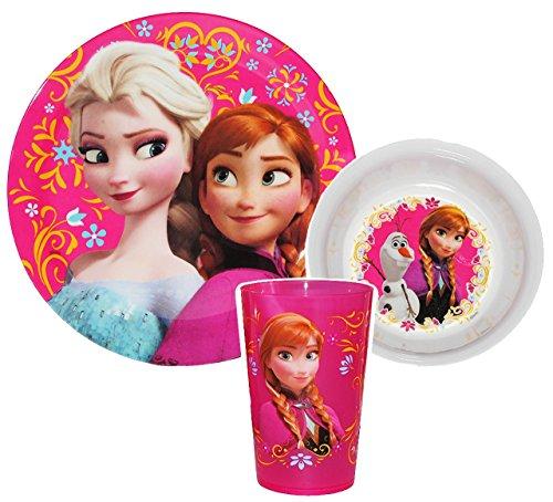 3-tlg-Geschirrset-Disney-die-Eisknigin-Frozen-Melamin-Trinkbecher-Teller-Mslischale-Kindergeschirr-Frhstcksset-Mdchen-fr-Kinder-Olaf-Anna-Elsa-vllig-unverfroren
