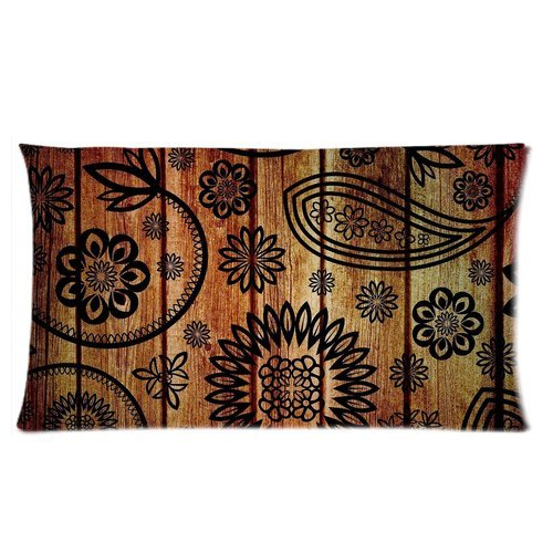 Paisley Floral Wood Pattern Custom Rectangle Bed Pillow Cases 20X36 (Twin Sides) front-977377