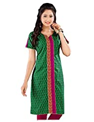 Lavis Green & Pink Pure Printed Cotton Kurti
