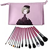 CLOTHOBEAUTY 15 Pcs Premium Synthetic Kabuki Makeup Brush Set Kit Foundation Blending Powder Blush Eyeliner Eyebrow...