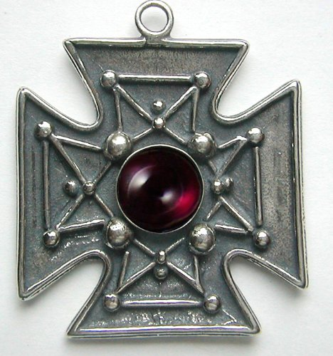 Spectacular Sterling Silver Iron Cross Pendant Accented with Genuine Garnet ...Jewelry Made in America