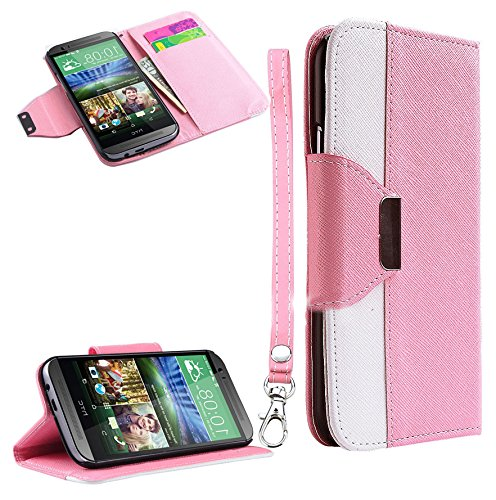 Mylife (Tm) Carnation Pink + White {Modern Design} Faux Leather (Card, Cash And Id Holder + Magnetic Closing) Slim Wallet For The All-New Htc One M8 Android Smartphone - Aka, 2Nd Gen Htc One (External Textured Synthetic Leather With Magnetic Clip + Intern