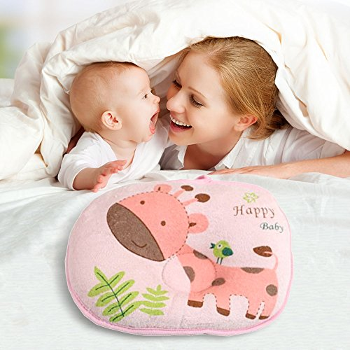 Pink / Cartoon animals Design Baby sleeping Positioner Pillow for Prevent Flat Head, Super Comfortable Soft Cotton&Velvet toddler Protective Sleep Pillow for Anti-roll (Baby Crib Bedding Sewing Patterns compare prices)