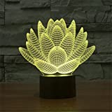 Lingstar 3D LED Lights Art Sculpture Color Changing LED with USB Lotus Flower