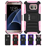 Galaxy S7 Case, HLCT Rugged Shock Proof Dual-Layer Case with Built-In Kickstand for Samsung Galaxy S7 (2016) (Pink)