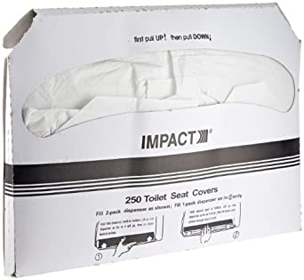 "Impact 1111 Toilet Seat Cover, Box Size 10-1/2"" Height x 15"" Width x 1"" Depth, White (Case of 1000)"
