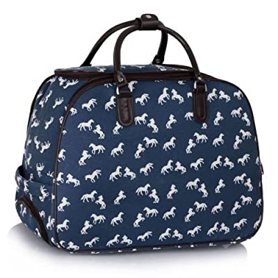 Ladies Travel Bags Holdall Womens Hand Luggage Horse Print Bag Weekend Wheeled Trolley Handbag from TrendStar