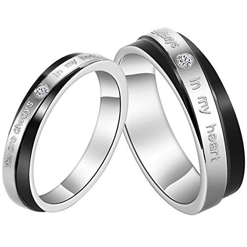 """JewelryWe Gioielli anello da uomo donna acciaio inossidabile """"You Are Always In My Heart"""" scolpito per fidanzamento/Promessa/matrimonio"""