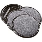 """Furniture Caster Cups with Carpeted Bottom for Hard Floor Surfaces (4 piece) - 2-1/2"""" Round, Brown"""