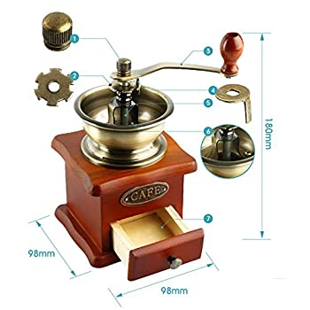 Dr.Luck Manual Coffee Bean Hand Grinder Spice Herbs Vintage Style Wooden Retro Burr Mill,Strong And Durable Hand Grinding Machine, Coffee Beans Grinding Machine, Classic Grain Mill, Manual Grinding Bean Machine(Color:Bronze,Pack of 1)