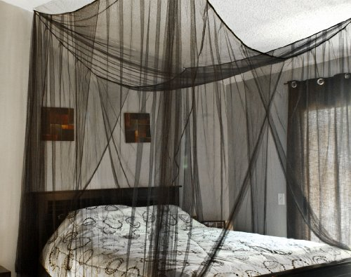 New Black Four Corner Bed Canopy Mosquito Net Bed Netting Queen King