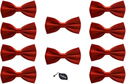 Udres Men Formal Tuxedo 10 Pack Solid Color Satin Bow Tie Classic Pre-Tied Bowtie (One Size, Red)