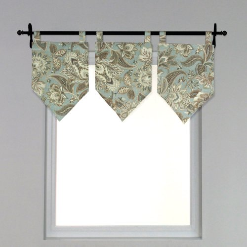 Brite Ideas Living Valdosta Seamist Tab Top Stitched V Valance, 13 by 21 - 1