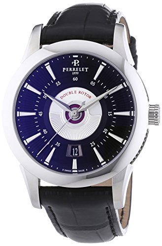 Perrelet Classic Double Rotor Men's Automatic Watch with Black Dial Analogue Display and Black Strap 1006/9