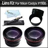 Lens Bundle Kit For Nikon Coolpix P7000 P7100 Digital Camera Includes Necessary Adapter Tube + 2x HD Telephoto Lens + .45x Professional HD Wide Angle Lens With Macro + Lens Pen Cleaning Kit + More
