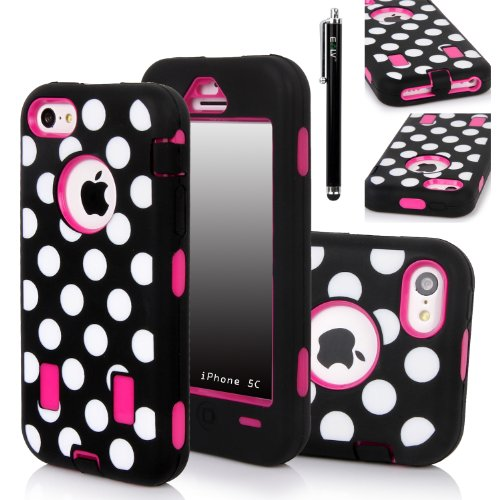 Iphone 5C Case, E Lv Iphone 5C Case - Heavy Duty Rugged Dual Layer Hybrid Armor Defender Case Cover For Iphone 5C With 1 Screen Protector, 1 Black Stylus And 1 Microfiber Sticker Digital Cleaner (Apple Iphone 5C) - Polka Dot Hot Pink
