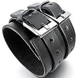 MunkiMix Alliage Genuine Leather Cuir Véritable Bracelet Bracelet Menotte Argent Noir Cordon Corde Motard Biker Réglable Convient 7~9 Pouce Homme