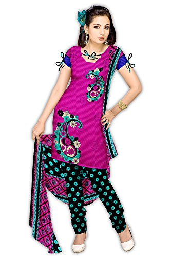Varshia Womens Synthetic Unstitched Salwar Suit Dress Material (Vp30 _Rani _Free Size)