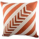 Aaiye Ghar Sajaiye Raw Silk Off White Rust Cushion Cover (16 Inches X 16 Inches)