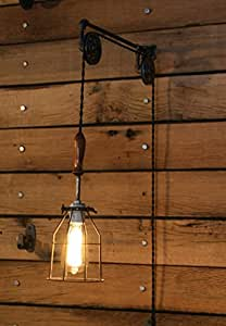 Pulley Wall mount with Industrial Cage Light and Wooden Handle - Pendant Light by Industrial ...