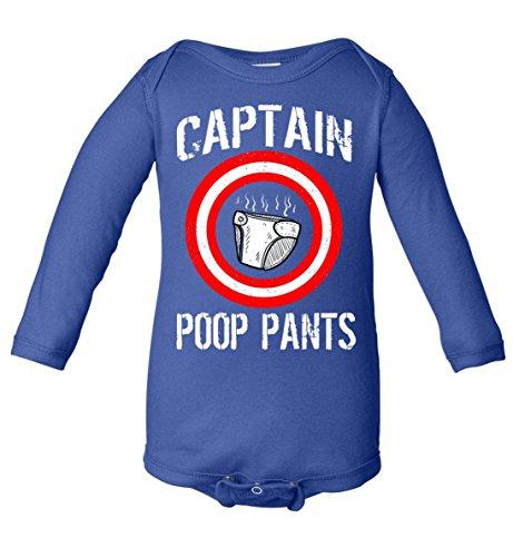 Funny Captain Poop Pants Baby Long Sleeve Bodysuit Blue Newborn