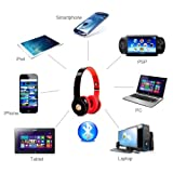 Syllable® G15 Foldable Professional Wireless Bluetooth Noise Reduction Headphones with Mic for IPhone 4 4s 5 5c 5s Ipad mini Ipad air Samsung Galaxy S4 S5 Note 3 HTC ONE/M8 ZTE Open C Smartphone or Any Other Device that Has Bluetooth Capability(Black)+Free Floureon® TF Card Reader