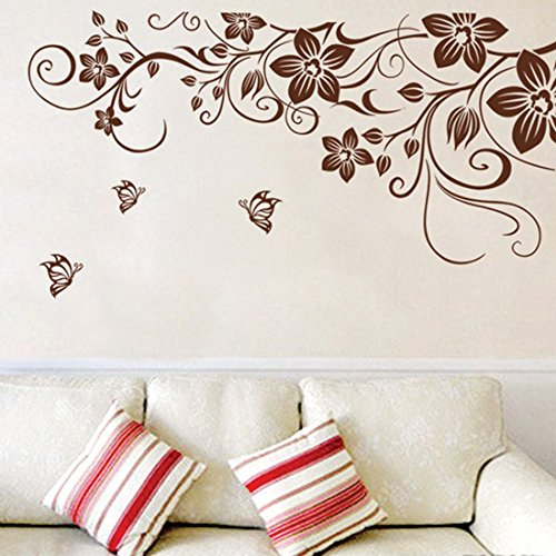 Wall Decal Brown Leaves Flowers Vine Home Sticker House Decoration WallPaper Removable Living Dinning Room Bedroom Kitchen Art Picture Murals Girls Boys kids Nursery Baby Decoration (Brown Flower Wall Decal Stickers compare prices)