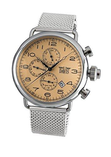Davis 1932MB-Mens Retro PILOT Watch- Bronze Dial- Day/Date- Dual Timer -Mesh Strap