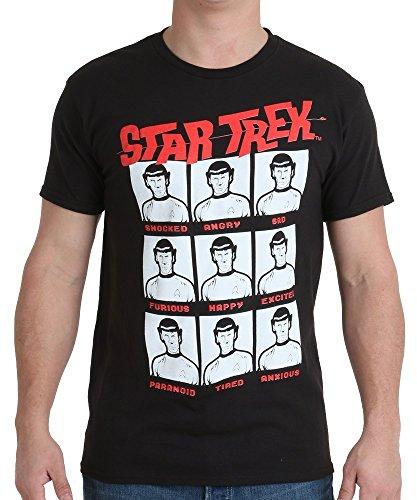 Star Trek Men's Star Trek Spock Moods T-Shirt, Black, Small