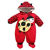 Cartoon Animal Style Cotton-padded Baby's Romper Baby Ladybug and Cows Wram Body Suit Autumn and Winter Clothing (7-12 Months, Red)