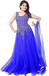 Z Fashion Women's Royal Blue Color Soft Net Embroidered Semi-stitched Round Neck Sleeveless Free Size Anarkali Gown with Matching Net Dupatta