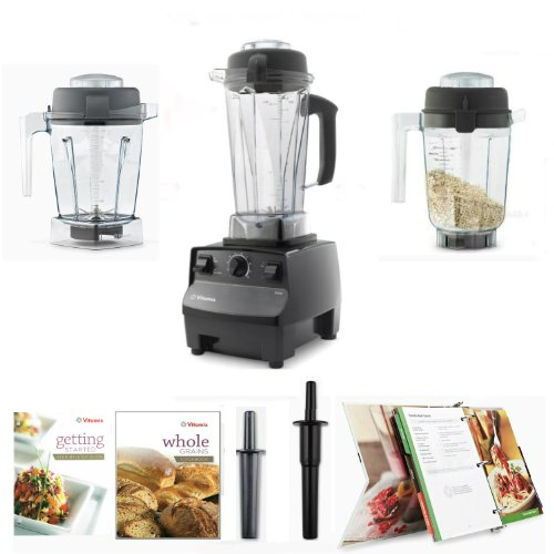 Vitamix 5200 Black Complete Kitchen Set, with 64oz Wet/48oz Wet/32oz DRY Containers. Plus Free Whole Food 400 Recipes Cookbook. Variable Speed Countertop Blender with 2 + HP Motor Let's Get Started DVD & 7 Yr Warranty (Vitamix Mini Blender compare prices)