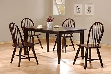 5pc Cappuccino Finish Dining Room Table Windsor Chairs Set