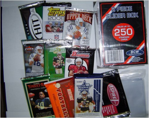2006 - 2008 Football Card Pack Gift Set - Sports Cards Birthday or Christmas Lot - 10 Different Unopened Football Packs - Comes with Storage Box and Sleeves - Good Deal - Save Money!