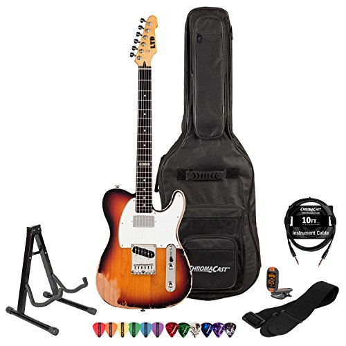 Esp Ltd Te-202-3Tb Rosewood Electric Guitar With 10' Cable, Strap, Stand, Tuner, Pick Sampler & Chromacast Gig Bag