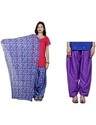 Indistar Women's Cotton Blue Patiala Salwar With Dupatta And Purple Semi-Patiala Salwar