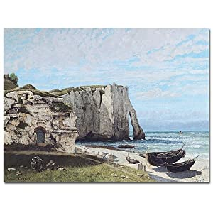 Trademark Fine Art The Cliffes at Etretat 1870 by Gustave Courbet Canvas Wall Art, 26x32-Inch