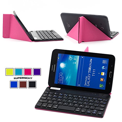 Supernight Universal 7 Inch Tablet Portfolio Pu Leather Stand Case Cover With Detachable Removable Wireless Bluetooth Keyboard For Samsung Galaxy Tab 2 7.0 / Samsung Galaxy Tab 3 7.0 / Samsung Galaxy Tab 3 Lite 7 / Samsung Galaxy Tab 4 7.0 /Asus Memo Pad