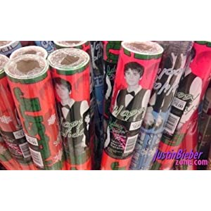 Justin Bieber Gifts on Amazon Com  Justin Bieber Red Christmas Gift Wrap Paper 7 Yd X 1 11 Yr