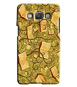 Blue Throat Tree Books Pattern Hard Plastic Printed Back Cover/Case For Samsung Galaxy E5