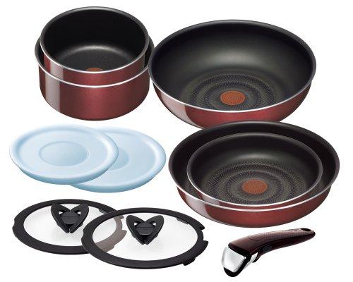 T-fal 鍋 フライパン セット 「インジニオ・ネオ」 取っ手の取れる ノーブルレッド セット10 L46790