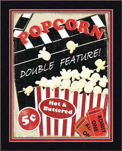 At the Movies I by Veronique Charron Theater Media Room Retro Popcorn Sign Wall Art Print Framed Décor (Popcorn Room Decor compare prices)