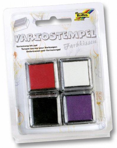 Folia 30170 - Variostempelkissen Set I 4 Stück, 34 x 34 mm, farbig Sortiert