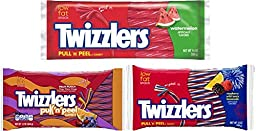 Twizzlers Pull n Peel Licorice Candy Variety Pack (Pack of 3 Bags)