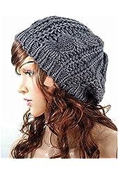 EVERMARKET(TM) Women Lady Winter Warm Knitted Crochet Slouch Baggy Beret Beanie Hat Cap Gray