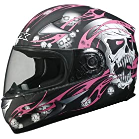 AFX FX-90 Skull Full Face Motorcycle Helmet Black/Pink Medium N/A N/A N/A