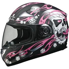 AFX FX-90 Skull Full Face Motorcycle Helmet Black/Pink Medium N/A N/A N/A
