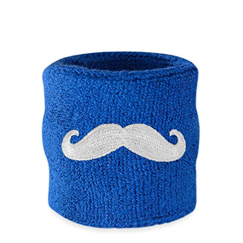 Suddora Movember Mustache Wrist Sweatbands (1 Piece) (Blue)